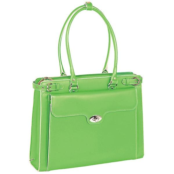 McKlein Women's Green Winnetka Italian Leather Laptop Briefcase