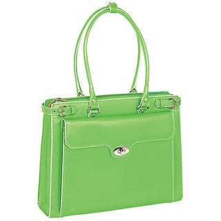 McKlein Women's Green Winnetka Italian Leather Laptop Briefcase