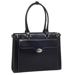 McKlein Women's Black Winnetka Italian Leather Laptop Tote