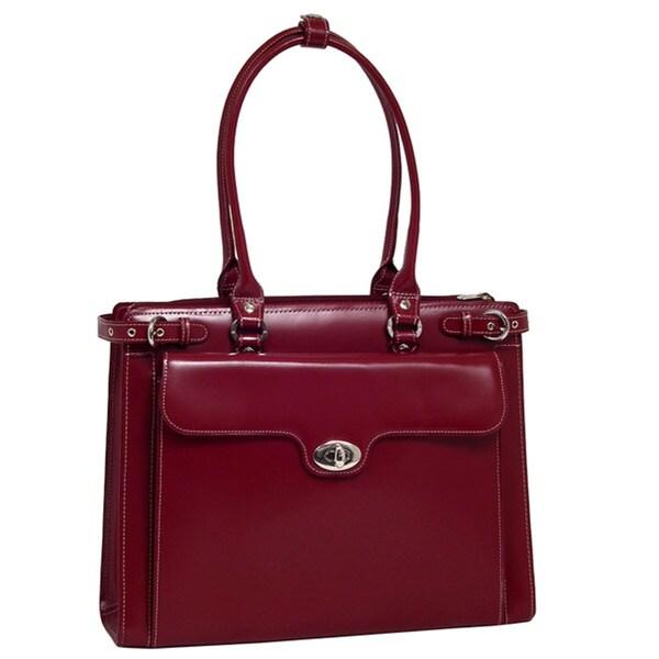 McKlein Women's Red Winnetka Italian Leather Laptop Briefcase