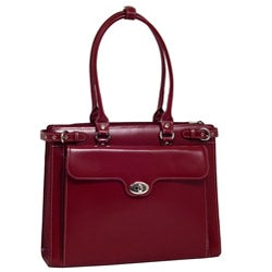 McKlein Women's Red Winnetka Italian Leather Laptop Briefcase