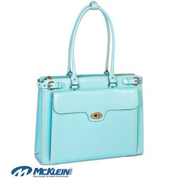 McKlein Women's Blue Winnetka Italian Leather Laptop Briefcase