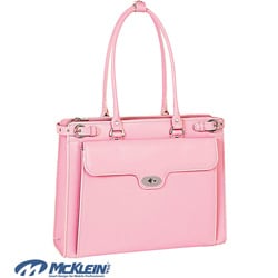 McKlein Women's Pink Winnetka Italian Leather Laptop Briefcase