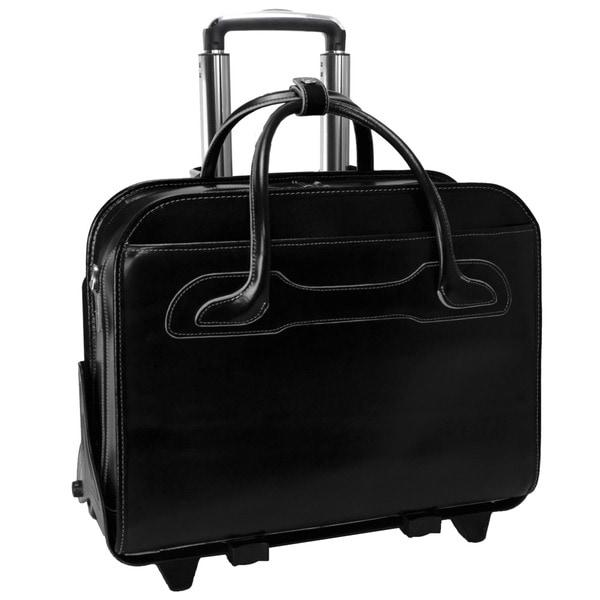 McKlein Black Willowbrook Detachable-Wheeled Laptop Briefcase