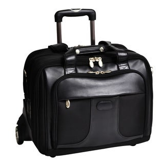 McKlein Chicago Black Nylon 17 in. Detachable-Wheeled Laptop Case