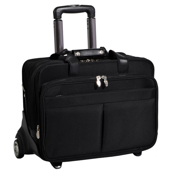 McKlein Roosevelt Black Nylon Detachable-Wheeled Laptop Case