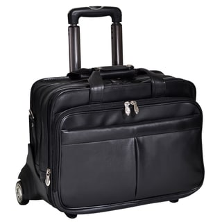 McKlein Roosevelt Black Leather 17-inch Detachable-wheeled Laptop Case