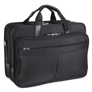McKlein Walton Black Nylon Expandable Compartment Laptop Case