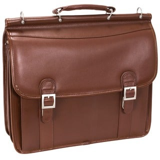 McKlein Halsted Brown Double Compartment Laptop Briefcase