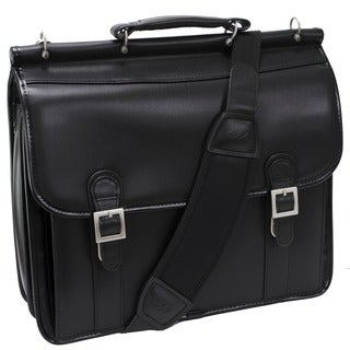 McKlein Black Halsted Double Compartment Leather Laptop Briefcase