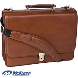 McKlein Brown Lexington Double Compartment Leather Laptop Briefcase