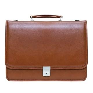 McKlein Brown Lexington Double Compartment Leather 17-inch Laptop Briefcase