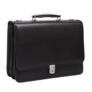 McKlein Black Lexington Double Compartment 17-inch Laptop Briefcase