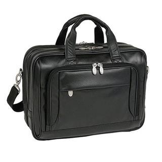 McKlein Black West Loop Expandable Double Compartment Briefcase