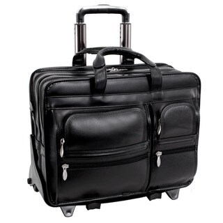 McKlein Black Clinton 17in. Detachable-Wheeled Laptop Case