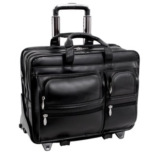 McKlein Black Clinton 17in. Detachable-Wheeled Laptop Case