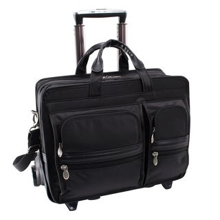 "McKlein Black Clinton 17"" Laptop Case with Detachable Wheels and Handle"