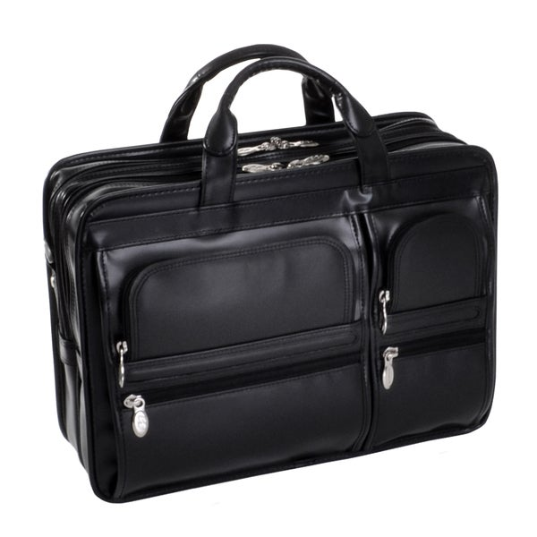 McKlein Black Leather Hubbard Double Compartment Laptop Briefcase