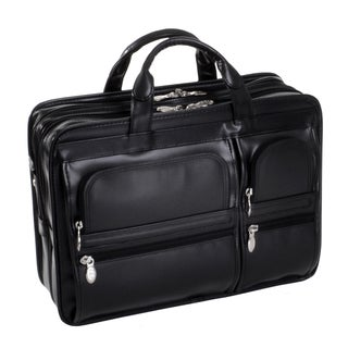 McKlein Black Leather Hubbard Double Compartment Laptop Briefcase