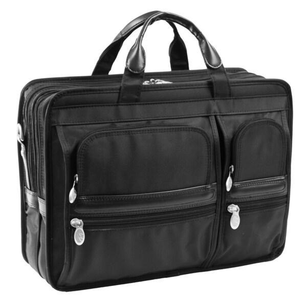 McKlein Black Nylon Hubbard Double Compartment Laptop Case