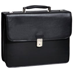 McKlein Ashburn Black Leather Laptop Briefcase