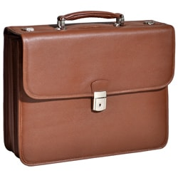 McKlein Ashburn Brown Leather Laptop Briefcase