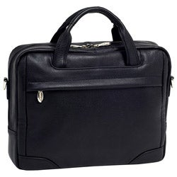 McKlein Black Bridgeport Leather Laptop Briefcase