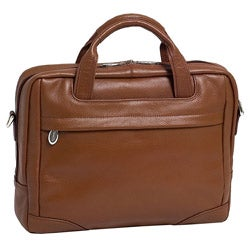 McKlein Brown Bridgeport Large Leather Laptop Briefcase