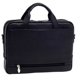 McKlein Black Bronzeville Leather Laptop Briefcase