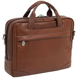 McKlein Brown Bronzeville Leather Laptop Briefcase