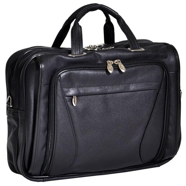 McKlein Irving Park Black Leather Dual Compartment 15.4-inch Laptop Briefcase