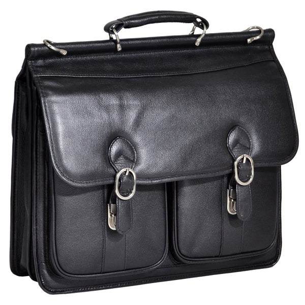 McKleinUSA Hazel Crest Black Leather Dual Compartment Laptop Case