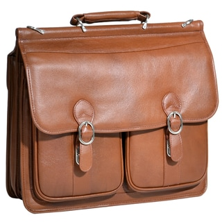 McKlein Brown Hazel Crest Leather Double Compartment Laptop Case