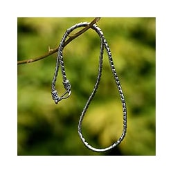 Look Sleek Traditional Balinese Hook Closure on a Modern 925 Sterling Silver Womens Fluid Spiral Chain Necklace (Indonesia)