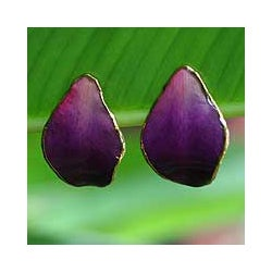 Goldplated Natural Orchid 'Purple Tears' Earrings (Thailand)