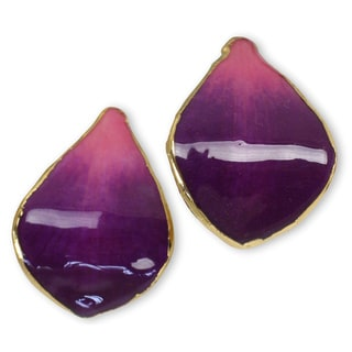 Handmade Goldplated Natural Orchid Purple Tears Teardrop Earrings (Thailand)