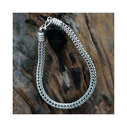 Fire Dance Everyday or Dressy Fluid Flexible Naga Snake Chain 925 Sterling Silver Contemporary Mens Bracelet (Thailand)
