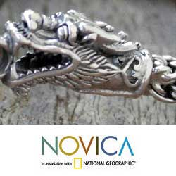 Sterling Silver 'Dragon Art' Bracelet (Thailand)