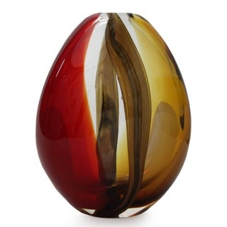 Crimson and Amber Power' Murano Vase , Handmade in Brazil