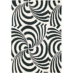 Zebra Spiral Hand-tufted Mandara Contemporary Wool Rug (5' x 7'6)