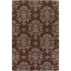 Brown Coat of Arms Hand-tufted Mandara Contemporary Wool Rug (5' x 7'6)