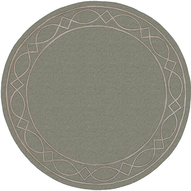 Hand-tufted Green/ Grey Mandara Wool Rug (7'9 Round)