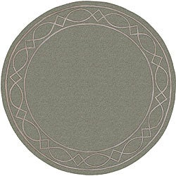 Hand-tufted Green/ Grey Mandara Wool Rug (7'9 Round)