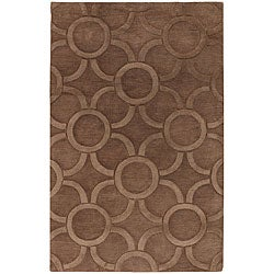 "Hand-Tufted Mandara Contemporary Brown Wool Rug (7'9"" x 10'6"")"