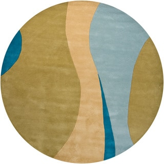 Hand-tufted Mandara Wool Rug with Geometric Pattern (7'9 Round)