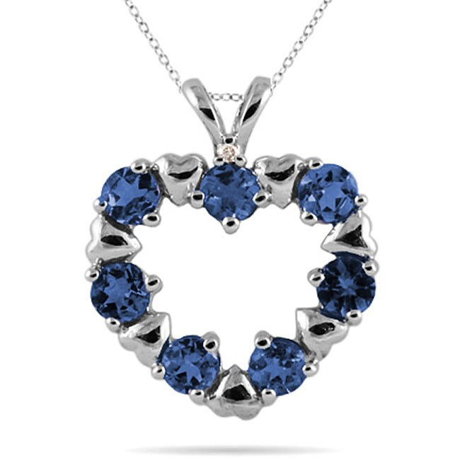 Marquee Jewels 10k White Gold Blue Sapphire and Diamond Heart Pendant