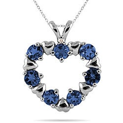 10k White Gold Blue Sapphire and Diamond Heart Pendant