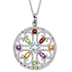Glitzy Rocks Sterling Silver Multi-gemstone Medallion Pendant