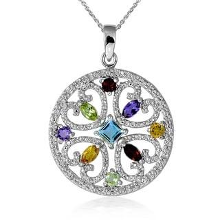 Glitzy Rocks Sterling Silver Multi-gemstone Medallion Pendant