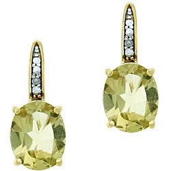 Glitzy Rocks 18k Gold Over Sterling Silver Lime Quartz Earrings